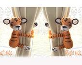 Symbol of 2022 ,Tiger curtain tie back,1 pcs,,Safari Animal,safari curtain tie back,crochet animal tiebacks,childrens,boy nursery curtains