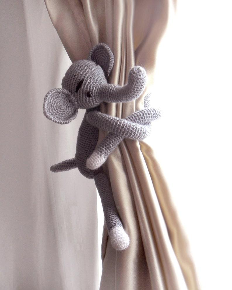 Elephant curtain tie back crochet PATTERN, tieback, left or right side  crochet pattern PDF instant download amigurumi PATTERN   Crochet patterns,  Magic ring crochet, Crochet   990x794