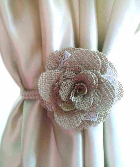 Valance W Burlap Ties And: Shabby Chic Curtains1pcs Curtain Tie Back Burlap Flower