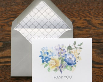 Thank You Bouquet Stationery - set of 6 folded cards + envelopes