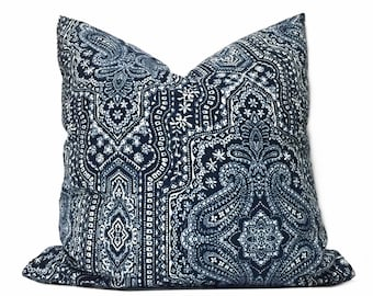 """Navy Blue White Paisley Pillow Cover, Fits 12x18 12x24 14x20 16x26 16"""" 18"""" 20"""" 22"""" 24"""" Cushions"""