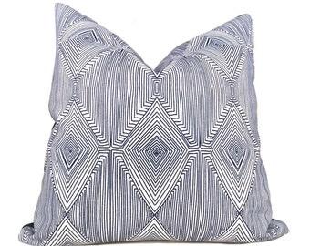 Nate Berkus Navy Blue White Geometric Diamond Pattern Pillow Cover