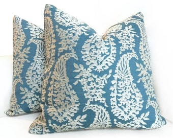 """Fabricut Napoli Turquoise Teal Cream Paisley Motif Pillow Cushion Zipper Cover, Made to fit Lumbar 16"""" 18"""" 20"""" 22"""" 24"""" Inserts"""