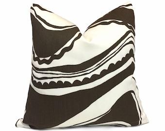 "Trina Turk Schumacher Carmel Coastline Tobacco Brown White Indoor Outdoor Pillow Cover, Fits Lumbar 16"" 18"" 20"" 22"" 24"" 26"" Cushion Inserts"