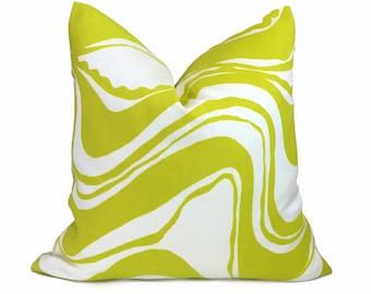 "Trina Turk Schumacher Carmel Coastline Sulfur Citron White Indoor Outdoor Pillow Cover, Fits Lumbar 16"" 18"" 20"" 22"" 24"" 26"" Cushion Inserts"