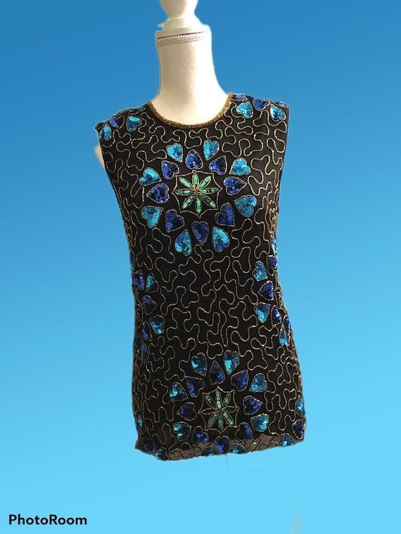 Vintage top with blue and green sequins from Jewel