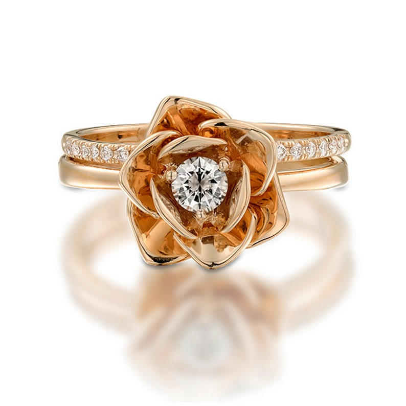Diamond ring rose ring 14k Rose Gold Ring Anniversary ring Promise Ring Flower ring Engagement Ring Unique ring Floral Ring
