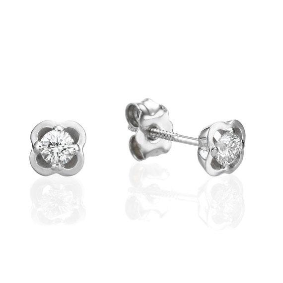 Stud Gold Earring Diamond Earring Flower Earring Earrings Etsy