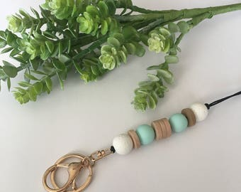 Lanyards-white, mint and natural