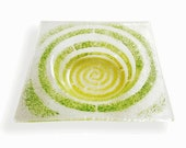 Clear Murano glass small bowl, Fused glass ashtray with yellow green decor Spiral series, Square saucer, Hand-decorated empty pocket
