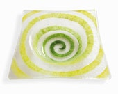 Clear Murano glass small bowl, Fused glass ashtray with large yellow green decor Spiral series, Square saucer, Hand-decorated empty pocket