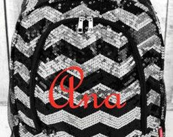 Monogrammed Sequin Backpack in Chevron Design - 6 Colors to Choose From - UPDATED 4/4/17