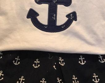 2 piece girls ruffle short set - anchor shorts with matching applique shirt -