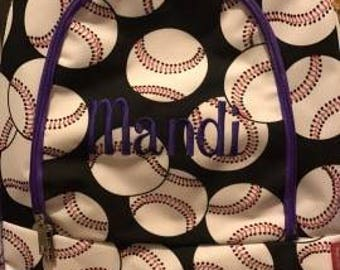 Baseball Backpack and matching Canvas Insulated Lunch bag with FREE MONOGRAMMING