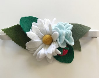 Felt Wildflowers with Hand Stitched Strawberry Adjustable headband