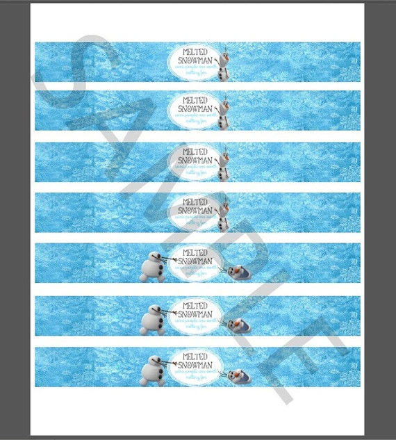 Items similar to PRINTABLE Frozen MINI water bottle labels ...