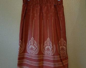 Silk Midi Skirt, Burnt Sienna