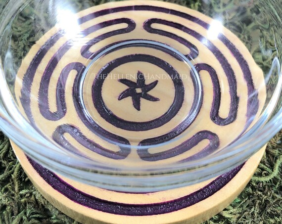 NEW Purple Hekate's Wheel offering bowl, Hecate's strophalos carved and hand painted Deipnon ritual set