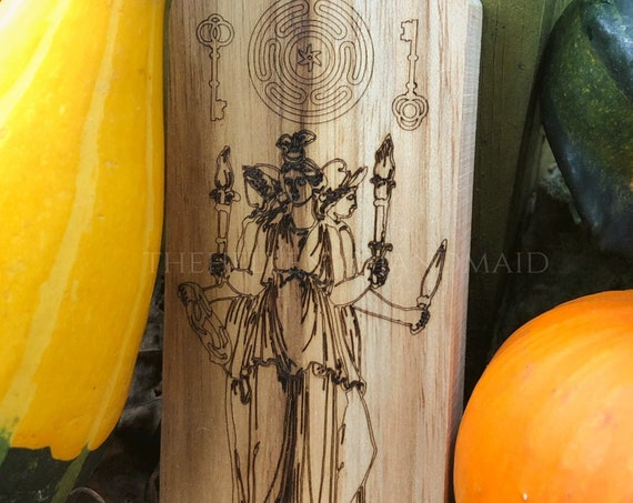 Triple Hecate engraving with strophalos and key design for crossroads blessing, home protection. Hekate's wheel outdoor altar
