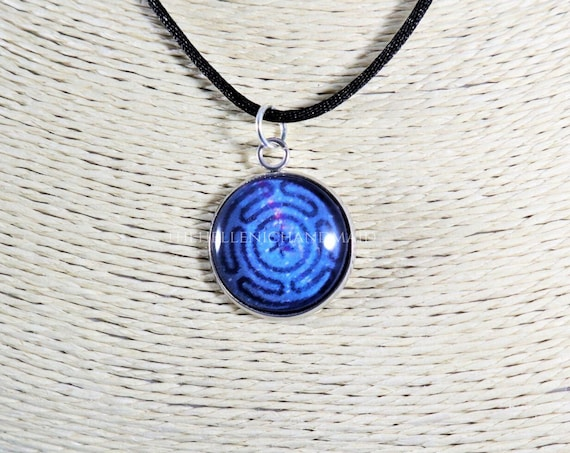 Galaxy Strophalos necklace, Hekate's wheel glass dome pendant honoring Hecate. Hellenic Polytheism jewelry