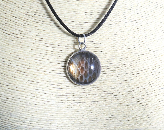 Serpent necklace, real snake skin glass dome pendant. One of a kind handmade jewelry