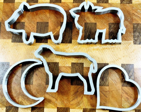 Sacrificial Cookie Cutters, 5 shapes for ritual offerings and other baked goods. Cow, pig, sheep, moon, heart, animal sacrifice alternative