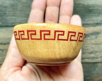 Meander offering bowl, red detail wood bowl for shrine or home with hand painted Greek key