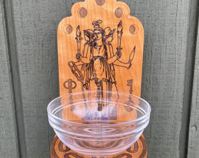 Hekate shrine set, Hekataion for wall entryway or table top with glass offering bowl