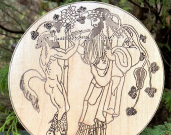 Dionysos altar decor, handmade wood engraving of Dionysus for shrine and home. Hellenic Polytheism