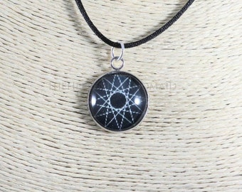 Dodecagram necklace, black 12 point star pendant honoring the Olympian Gods. Glass dome necklace with cord, Hellenic Polytheism jewelry