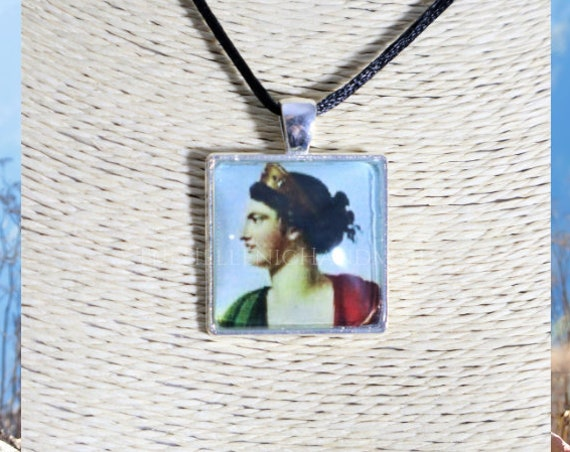 Hera necklace, glass dome pendant of the crowned Queen of the Gods. Hellenic Polytheism jewelry
