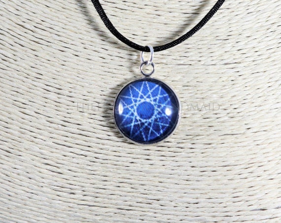 Dodecagram necklace, blue 12 point star pendant honoring the Olympian Gods. Glass dome necklace with cord, Hellenic Polytheism jewelry