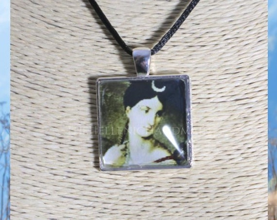 Artemis necklace, glass dome pendant of our Goddess of the hunt. Hellenic Polytheism jewelry