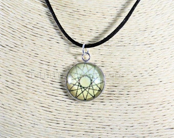 Dodecagram necklace, golden sand color 12 point star glass dome pendant honoring the Olympian Gods. Hellenic Polytheism jewelry