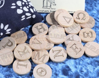 Greek Alphabet Oracle set, 24 engraved wood tiles with reference booklet and bag