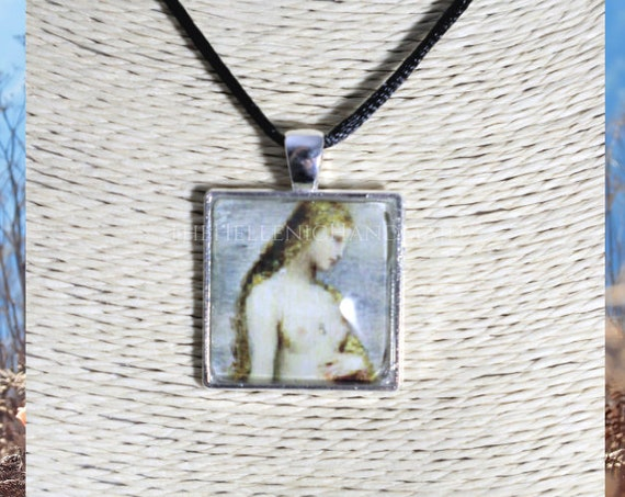 Birth of Venus necklace, glass dome pendant of the Goddess of love and beauty. Aphrodite jewelry