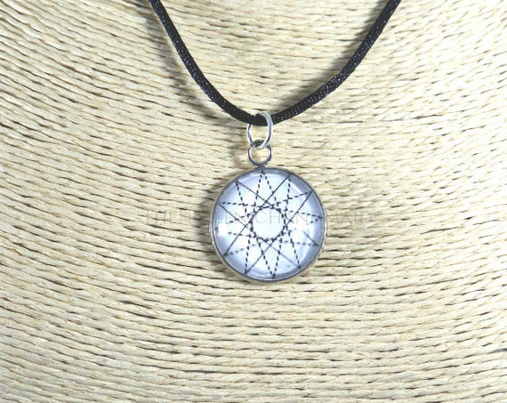 Dodecagram necklace, white 12 point star pendant honoring the Olympian Gods. Glass dome necklace with cord, Hellenic Polytheism jewelry