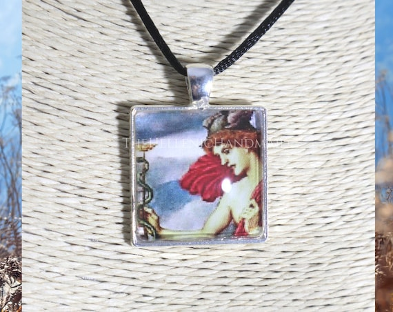 Hermes necklace, glass dome pendant of the messenger of the Gods. Hellenic Polytheism jewelry