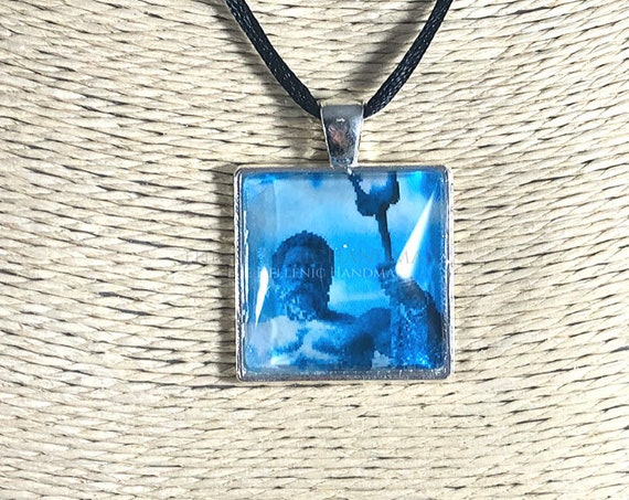 Poseidon necklace, glass dome pendant of the God of the sea. Hellenic Polytheism jewelry
