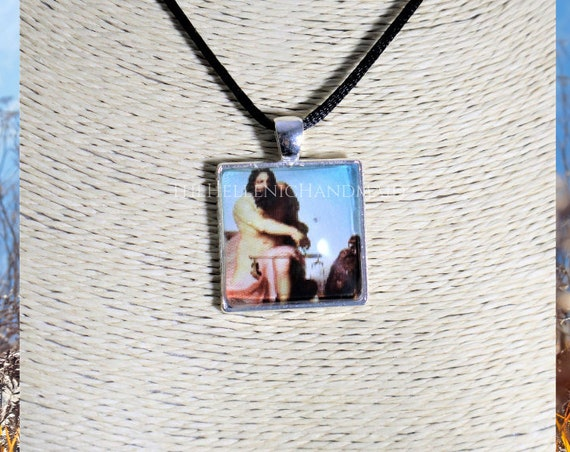 Zeus necklace, glass dome pendant of the King of the Gods. Hellenic Polytheism jewelry