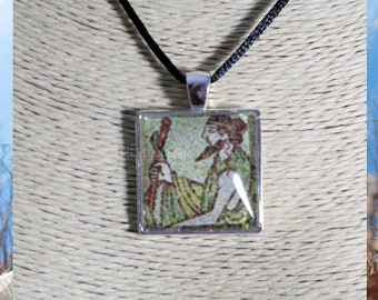 Asklepios necklace, glass dome pendant of the god of medicine. Hellenic Polytheism jewelry