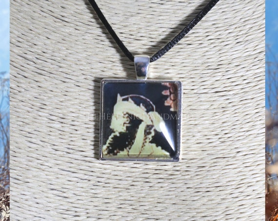 Dionysos necklace, glass dome pendant of the God of wine, fertility, and festivity. Hellenic Polytheism jewelry