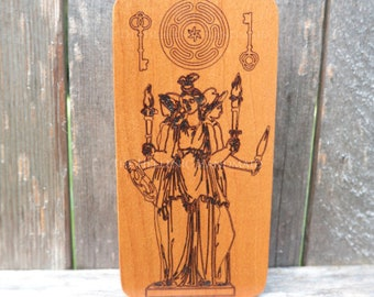 Hekate altar art, triple Hecate cherry wood engraving with strophalos and keys. Crossroads blessing, home protection handmade shrine icon