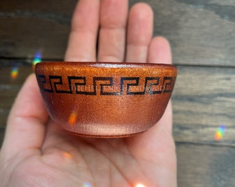 Meander offering bowl, hand painted wood bowl for shrine or home in antique red with black Greek key
