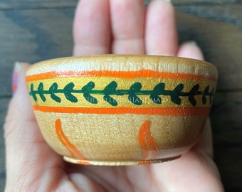 NEW Apollo offering bowl, hand painted wood bowl for shrine or home with laurel wreath and sun rays