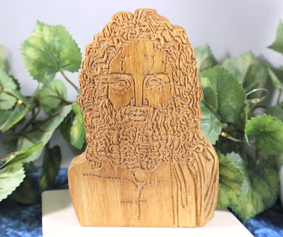 Zeus bust, carved wood statuette for shrine, Hellenism altar decor statue