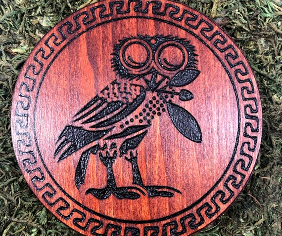 Athene's Owl altar decor dedicated to the Goddess Athena, Hellenic Polytheism hand painted wood carving