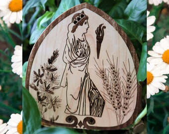 Kore plant decoration stake, Springtime Goddess Persephone with asphodel flowers and wheat on maple wood. Garden decor, gift giving