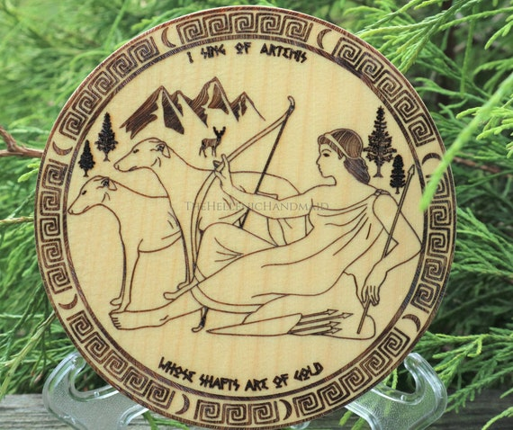 Artemis altar decor, cypress wood devotional engraving with Orphic hymn. Hellenic Polytheism