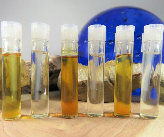Sample Size Ritual Oil, 0.5ml fragrance oil blends by The Hellenic Handmaid. Choose Frankincense, Lavender, Myrrh, Kharis